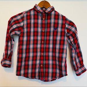 Wrangler Jeans Plaid Red Blue Button Down Shirt